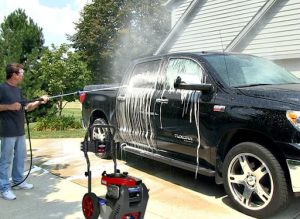 car washing using pressure washer